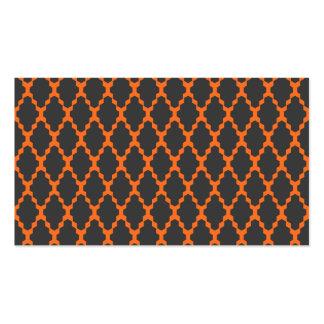 Modelo anaranjado negro a cuadros geométrico de plantillas de tarjeta de negocio