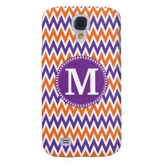 Modelo anaranjado púrpura de Chevron del monograma Samsung Galaxy S4 Cover