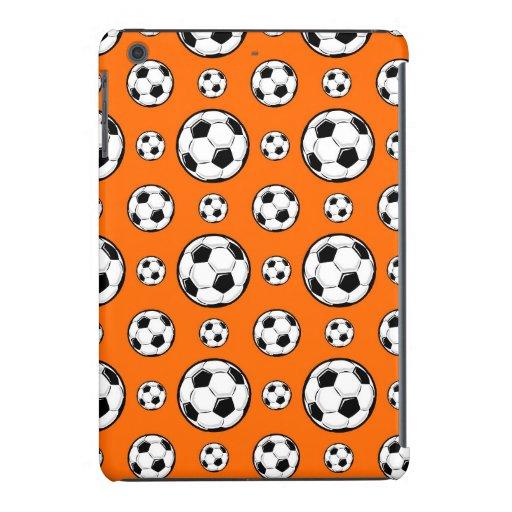 Modelo anaranjado y blanco del balón de fútbol fundas de iPad mini