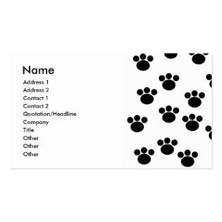 Modelo animal de la impresión de la pata. Blanco y Tarjetas De Visita