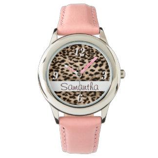 Modelo animal, marrón, rosa, monograma reloj