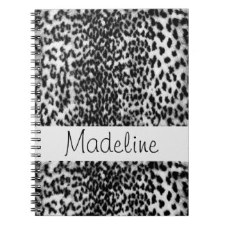 Modelo animal, negro, blanco, monograma cuaderno