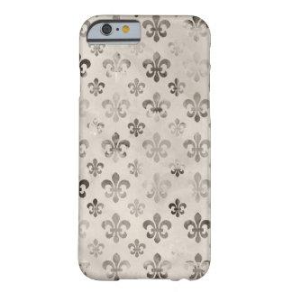 Modelo apenado de moda de la flor de lis del gris funda de iPhone 6 barely there