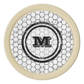 Modelo apenado del monograma del panal juego de fichas de póquer