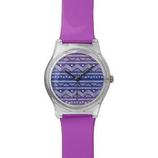 Modelo azteca azul y violeta profundo reloj
