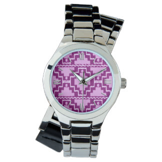Modelo azteca de Ikat - púrpura y violeta Amethyst Relojes De Pulsera