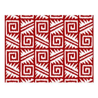 Modelo azteca de Ikat - rojo oscuro y blanco Postal