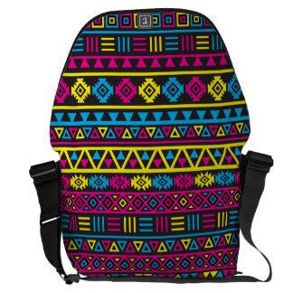 Modelo azteca del estilo - CMY y negro Bolsas De Mensajeria