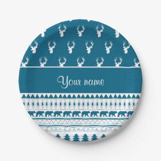 Modelo azteca tribal de los ciervos azules del plato de papel