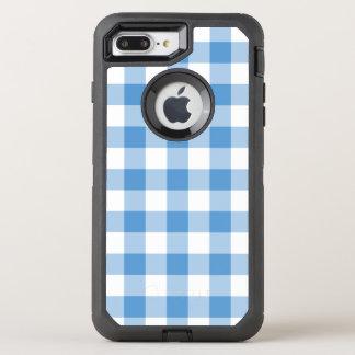 Modelo azul claro y blanco comprobado clásico funda OtterBox defender para iPhone 7 plus