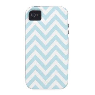 Modelo azul claro y blanco de la raya de Chevron Case-Mate iPhone 4 Fundas