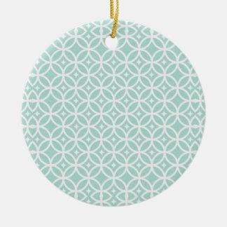 Modelo azul claro y blanco del círculo y de adorno navideño redondo de cerámica