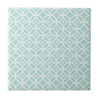 Modelo azul claro y blanco del círculo y de azulejo cuadrado pequeño