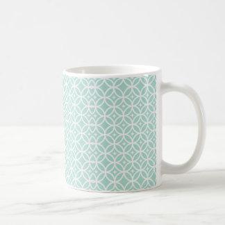 Modelo azul claro y blanco del círculo y de taza de café