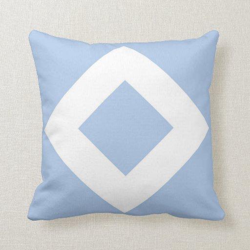 Modelo azul claro y blanco del diamante almohadas