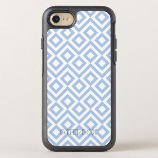 Modelo azul claro y blanco geométrico del meandro funda OtterBox symmetry para iPhone 7