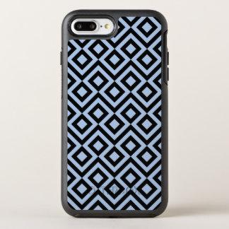 Modelo azul claro y negro geométrico del meandro funda OtterBox symmetry para iPhone 8 plus/7 plus