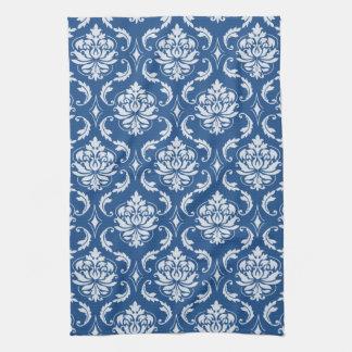 Modelo azul clásico del damasco toalla de cocina