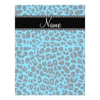 Modelo azul conocido personalizado del leopardo tarjetón