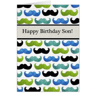 Modelo azul del bigote - hijo del feliz cumpleaños tarjeta de felicitación
