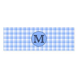 Modelo azul del control del monograma. Letra de Tarjetas De Visita Mini