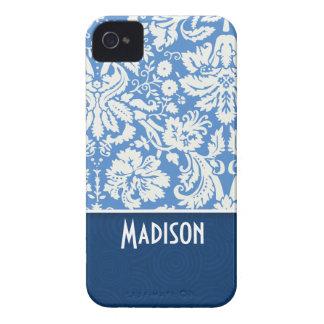Modelo azul del damasco iPhone 4 carcasas
