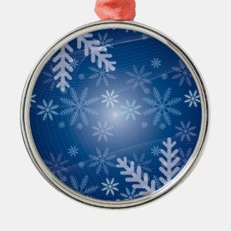 modelo azul del invierno del copo de nieve adorno redondo plateado