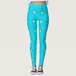 Modelo azul del limón leggings