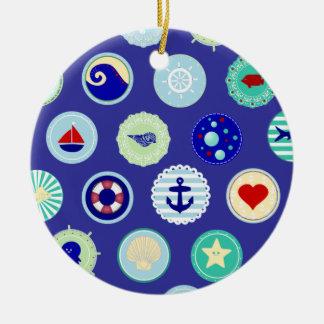 Modelo azul del marinero del mar náutico adorno redondo de cerámica