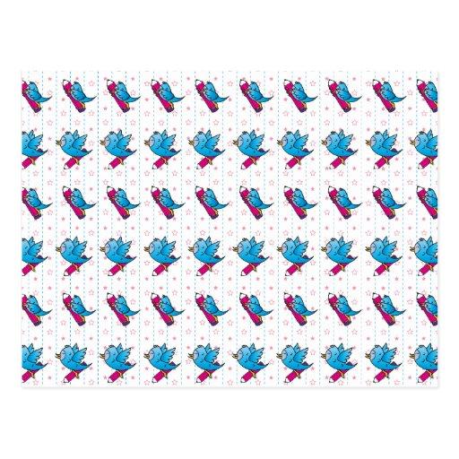 Modelo azul del pájaro y del lápiz de Birdy Tarjeta Postal