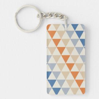 Modelo azul del triángulo del naranja que pone en llavero rectangular acrílico a doble cara