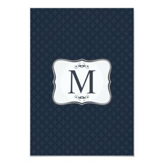 Modelo azul marino - el monograma de los hombres invitación 8,9 x 12,7 cm