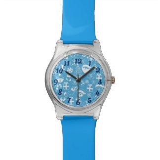 Modelo azul preferido del reno del duende de Santa Reloj De Pulsera