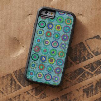 Modelo azul retro sucio del círculo funda de iPhone 6 tough xtreme