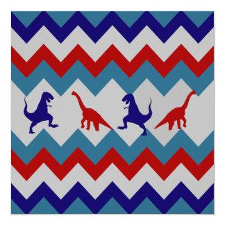 Modelo azul rojo de Chevron de los dinosaurios de Invitación 13,3 Cm X 13,3cm