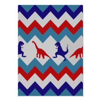 Modelo azul rojo de Chevron de los dinosaurios de Invitación 12,7 X 17,8 Cm