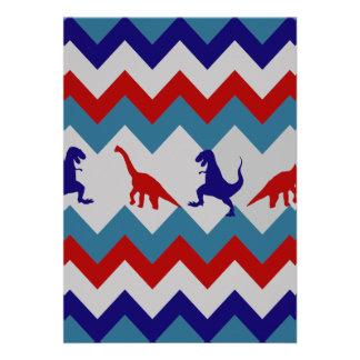 Modelo azul rojo de Chevron de los dinosaurios de  Invitación Personalizada