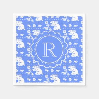 Modelo azul y blanco del estilo del vintage de los servilleta desechable