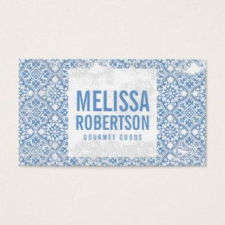 Modelo azul y blanco del vintage para la tarjeta de negocios