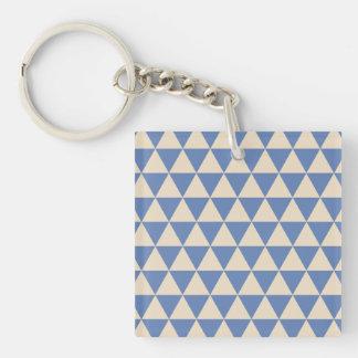 Modelo azul y color crema del triángulo llavero cuadrado acrílico a una cara
