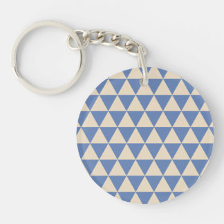 Modelo azul y color crema del triángulo llavero redondo acrílico a doble cara