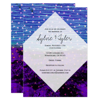 Modelo azul y púrpura del triángulo invitación 12,7 x 17,8 cm