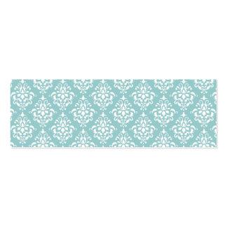 Modelo blanco azul claro 1 del damasco del vintage tarjetas de visita mini