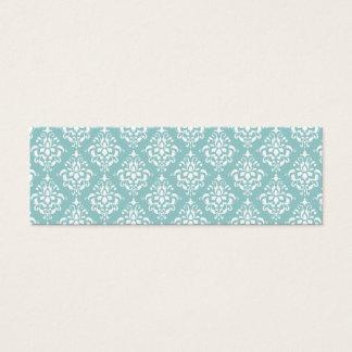 Modelo blanco azul claro 1 del damasco del vintage tarjeta de visita pequeña