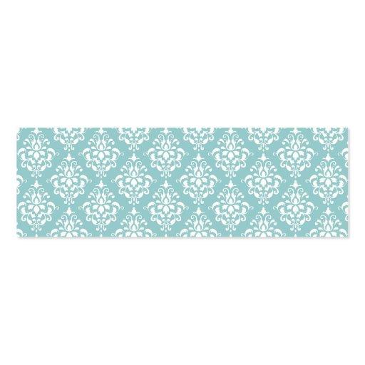 Modelo blanco azul claro 1 del damasco del vintage tarjeta de visita