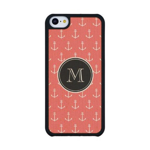Modelo blanco coralino de las anclas, monograma funda de iPhone 5C slim arce