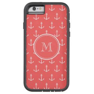 Modelo blanco coralino de las anclas, su monograma funda de iPhone 6 tough xtreme