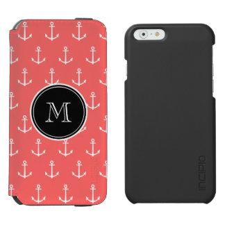 Modelo blanco coralino de las anclas, su monograma funda cartera para iPhone 6 watson
