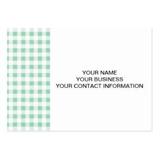 Modelo blanco de la guinga de la verde menta tarjetas de visita grandes