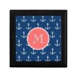 Modelo blanco de las anclas de los azules marinos, cajas de joyas